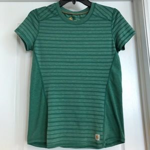 Carhartt Force Striped Green XS Active Tee
